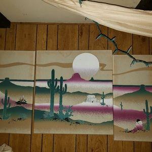 3 large piece wall retro 80' art